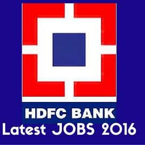 HDFC Bank Jobs 2016