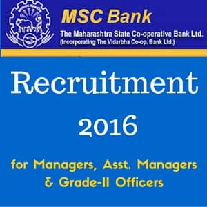 MSC Bank Recruitment 2016