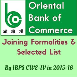 OBC Bank Released Joining Formalities & Selected List by IBPS