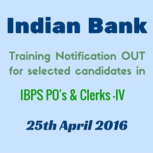 Indian Bank Training date released