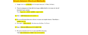 Simple Interest Shortcut Formulae