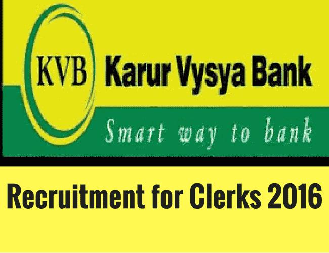 KVB Recruitment 2016 for Clerks - Karur Vysya Bank