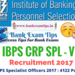 IBPS Recruitment for Specialist Officers 2017- 4122 posts