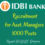 IDBI Recruitment 2016 for Asst. Managers Under PGDBF -1000 posts IDBI Bank is one of the public sector having branches all over India. Now It has meen inked with Manipal program of PG diploma in Banking and Finance for 1 year and after completion of this course and the candiate should be admit formally to a post of Assistant Manager (Grade A) and also he will be awarded a Degree of PGDBF from Manipal University. For this, IDBI Bank is now inviting applications from the eligible candidates for this program. The candidates can be selected based on the candidate's performance in the online exam and those who have selected from the online test can be called for personal interview and finalize the selected list on merit from the both rounds (online test and interview). Once the candidates has selected from this test. They can be provided 9 months class room course and 3 months internship at IDBI Bank Branches and finally award the PGDBF from Manipal university Scheduled Date of the Online Test: 2nd Febraury 2016. IDBI Bank Post Details: IDBI Vacancies: 1000 posts Post Name: Asst. Manager (Grade A). Source: PGDBF Program from Manipal University. Eligibility Criteria:(as on 01/10/2016): Age Limit: The age of the candidate should be below 28 years. Education: Any Graduate with minimum 60% marks for General candidates and 55% for reserved categories. Application Fee: - The SC/ST/PWD candidates should have to pay Rs.150 and Rs.700 for all other posts. Selection Process: Online Test and Personal Interview. The online test comprises 1 Reasoning 50 questions for 50 marks 2 English Language 50 qs 50 marks 3 Quantitative Aptitude 50 qs 50 marks 4 General Awareness (With Special Reference to Banking) 50 questions for 50 marks Total 200 MCQs are asked for 200 marks and Total Time: 2 hours. Stipend: The candidates will be given the stipend once they selected for PGDBF program. They will pay Rs.2500 for first 9 months and Rs. 10,000 for next 3 months. How to Apply: IDBI PGDBF Manipal 