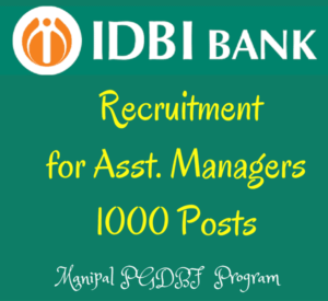 IDBI Recruitment 2016 for Asst. Managers Under PGDBF -1000 posts IDBI Bank is one of the public sector having branches all over India. Now It has meen inked with Manipal program of PG diploma in Banking and Finance for 1 year and after completion of this course and the candiate should be admit formally to a post of Assistant Manager (Grade A) and also he will be awarded a Degree of PGDBF from Manipal University. For this, IDBI Bank is now inviting applications from the eligible candidates for this program. The candidates can be selected based on the candidate's performance in the online exam and those who have selected from the online test can be called for personal interview and finalize the selected list on merit from the both rounds (online test and interview). Once the candidates has selected from this test. They can be provided 9 months class room course and 3 months internship at IDBI Bank Branches and finally award the PGDBF from Manipal university Scheduled Date of the Online Test: 2nd Febraury 2016. IDBI Bank Post Details: IDBI Vacancies: 1000 posts Post Name: Asst. Manager (Grade A). Source: PGDBF Program from Manipal University. Eligibility Criteria:(as on 01/10/2016): Age Limit: The age of the candidate should be below 28 years. Education: Any Graduate with minimum 60% marks for General candidates and 55% for reserved categories. Application Fee: - The SC/ST/PWD candidates should have to pay Rs.150 and Rs.700 for all other posts. Selection Process: Online Test and Personal Interview. The online test comprises 1 Reasoning 50 questions for 50 marks 2 English Language 50 qs 50 marks 3 Quantitative Aptitude 50 qs 50 marks 4 General Awareness (With Special Reference to Banking) 50 questions for 50 marks Total 200 MCQs are asked for 200 marks and Total Time: 2 hours. Stipend: The candidates will be given the stipend once they selected for PGDBF program. They will pay Rs.2500 for first 9 months and Rs. 10,000 for next 3 months. How to Apply: IDBI PGDBF Manipal Program for Asst. Manager posts: The eligible candidates can log on to IDBI Bank's website and then click on CAREERs page and Apply Online by choosing the post from 25th November 2016 to 9th December 2016. 1. Registration. 2. Uploading the scanned copies. 2. Payment of Details. 3. Recheck and submit application. 4. Take print out of subitted application for future reference. Important Dates: Opening Date to Apply Online and Pay Fee- 25th November 2016. Closing Date to Apply Online and Pay Fee- 9th December 2016. Click Here to view IDBI Official Notification of PGDBF program. Click Here to Apply Online. IDBI PGDBF Call Letters for Online Test/ Personal Interview: After completing the application process the recruitment team will update the call letters in IDBI Bank's careers page to attend the online test which will be conducting on 2nd February 2016 and also you can download from this blog www.bankexamtips.in for both Online test and to attend Interview and determined levelss of recruitment process. Final Results: After finishing the two rounds of the recruitment process - online test and Interview. Then the final selected list will be updated here by shortlisting right applicants on merit basis based on the candidate's performance in the online exam and interview. Note: The candidates who are applying for these posts are advised to visit the site frequently for further updates about IDBI Recruitment for Asst. Managers under Manipal PGDBF program.