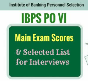 IBPS PO VI Main Exam Scores