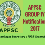 APPSC Group IV Notification 2017 - Panchayat Secretary Jobs - 1055 Posts - Apply Online