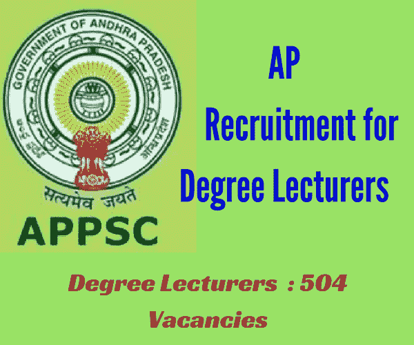 APPSC Recruitment 2017 for Lecturers in Government Degree Colleges- 504 Posts - Apply Online