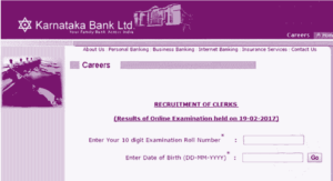 Karnataka Bank Clerk Online Exam Result 2017 | KBL Clerk Result