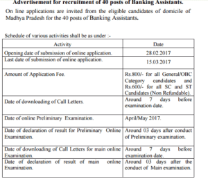 MP State Cooperative Bank Recruitment 2017 for 40 Banking Assistant Posts