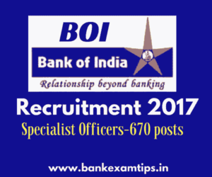 Bank of India Recruitment 2017 for Officers and Manager Vacancies