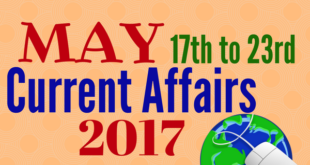 Important Current Affairs May 2017 3rd Week