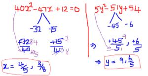 Quadratic Equations for SBI PO