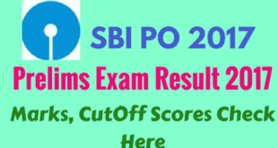 SBI PO Preliminary Exam Result 2017