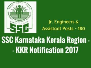 SSC KKR Recruitment 2017 - Jr. Engineer, Assistant Vacancies - 183 posts