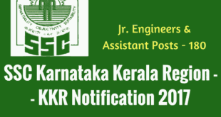 SSC KKR Recruitment 2017 - Jr. Engineer, Assistant Vacancies - 183 posts