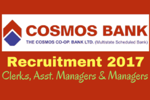 COSMOS Bank Recruitment 2017 for Managers, Assistant Managers, and Clerks