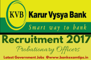 Karur Vysya Bank Recruitment 2017 Officers
