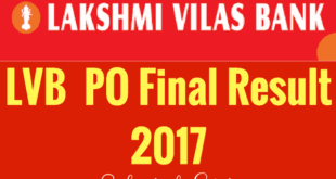 Lakshmi Vilas Bank PO Result 2017 | LVB PO Selected List OUT