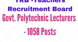 TRB Recruitment Notification 2017 - Govt. Polytechnic College Lecturers - 1058 Posts