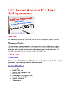 GST Questions - Bank Exam Tips
