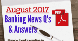 Latest Banking Current Affairs 2017 PDF August 2017