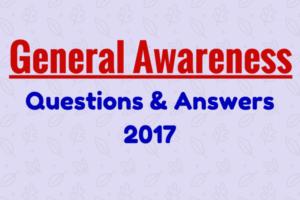 General Awareness Questions 2017