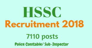 HSSC Police Recruitment 2018 Notification