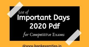 Important Days pdf in January 2020 to December 2020