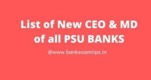 New CEO of all PSU banks in India in 2020