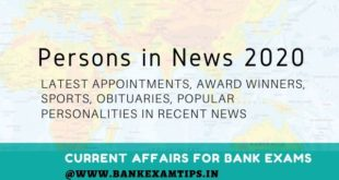 Persons in News 2020 current affairs